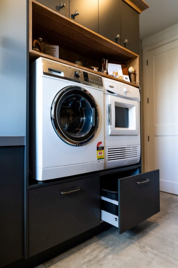 laundry-design-washing-machine-dryer-suspended-drawers-bins-feature-shelving-arcline-architecture